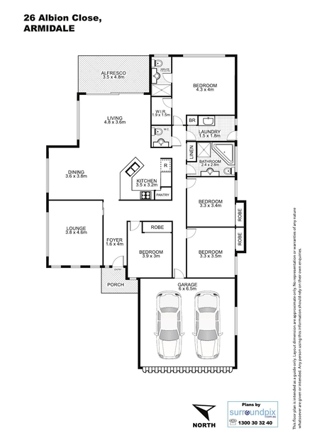 Floor plans of 26 albion close armidale nsw surroundpix for Floor plans real estate